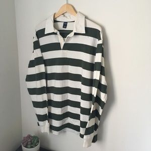 Green and white stripe gap polo rugby